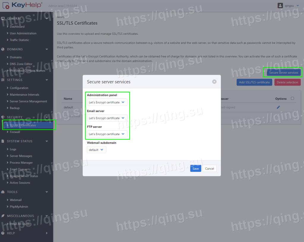 为KeyHelp主机面板添加SSL证书